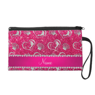 Name silver hearts dolphins rose pink glitter wristlet clutches