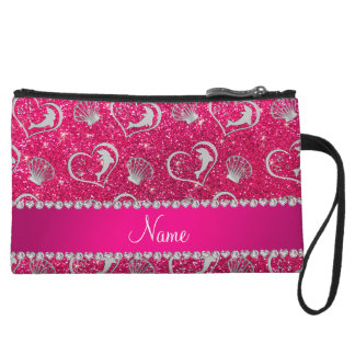 Name silver hearts dolphins rose pink glitter wristlet purses