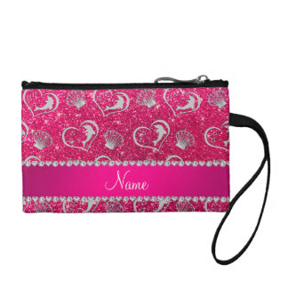Name silver hearts dolphins rose pink glitter coin wallet
