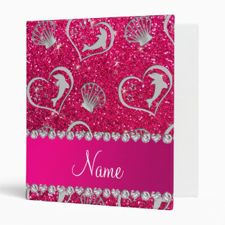 Name silver hearts dolphins rose pink glitter vinyl binders