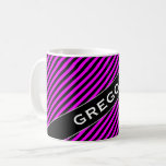 [ Thumbnail: Name + Simple Fuchsia & Black Stripes Pattern Mug ]