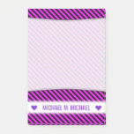 [ Thumbnail: Name; Simple Fuchsia & Black Stripes Pattern Notes ]