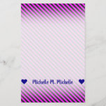 [ Thumbnail: Name; Simple Fuchsia & Black Stripes Pattern Stationery ]