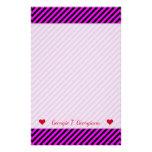 [ Thumbnail: Name + Simple Fuchsia & Black Stripes Pattern Stationery ]