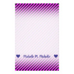 [ Thumbnail: Name; Simple Fuchsia & Black Stripes Pattern Stationery ]