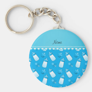Name sky blue baby bottle rattle pacifier basic round button keychain