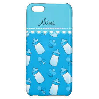 Name sky blue baby bottle rattle pacifier cover for iPhone 5C