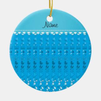 Name sky blue baby bottle rattle pacifier stork ceramic ornament