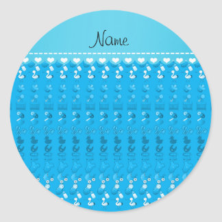 Name sky blue baby bottle rattle pacifier stork classic round sticker