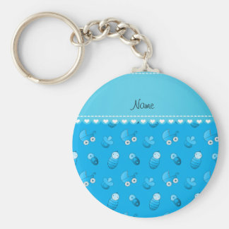 Name sky blue baby pin carriage pacifier basic round button keychain