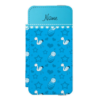 Name sky blue baby stork hearts stars iPhone SE/5/5s wallet case