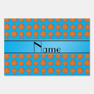 Name sky blue basketball pattern signs