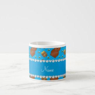 Name sky blue bears honeypots bees pattern espresso mug