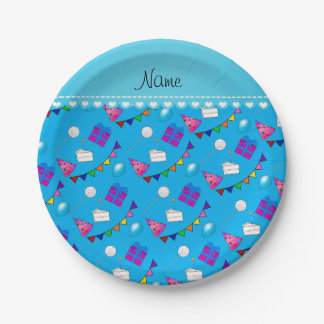 Name sky blue birthday bunting cake hat balloons paper plate