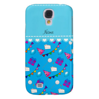 Name sky blue birthday bunting cake hat balloons samsung galaxy s4 cover