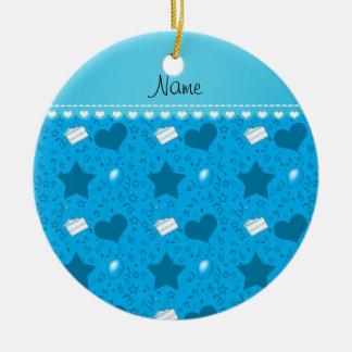 Name sky blue birthday cake balloons hearts stars ceramic ornament