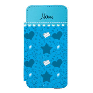 Name sky blue birthday cake balloons hearts stars wallet case for iPhone SE/5/5s
