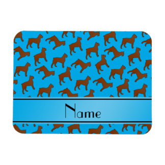 Name sky blue Bouvier des Flandres dogs Rectangular Photo Magnet