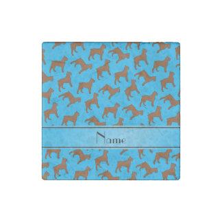 Name sky blue Bouvier des Flandres dogs Stone Magnet