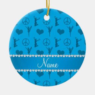 Name sky blue cheerleading hearts peace sign ceramic ornament