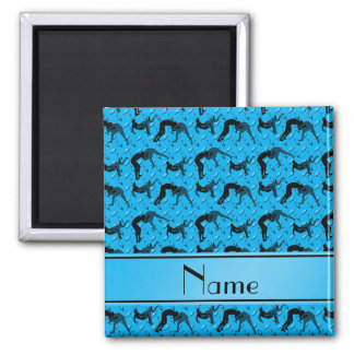 Name sky blue diamond steel plate wrestling 2 inch square magnet