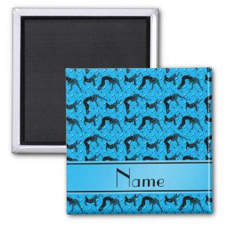 Name sky blue diamond steel plate wrestling 2 inch square magnet