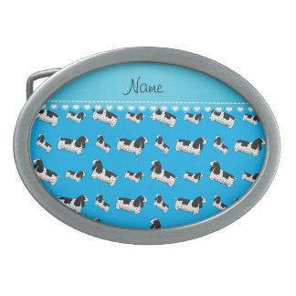 Name sky blue english cocker spaniel dog oval belt buckle