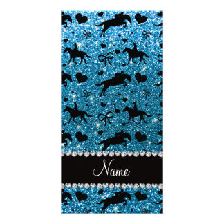 Name sky blue glitter equestrian hearts bows customized photo card