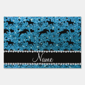 Name sky blue glitter equestrian hearts bows lawn signs