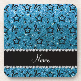 Name sky blue glitter music notes stars coaster