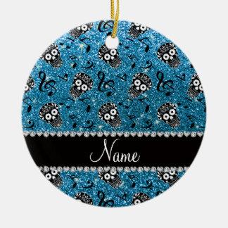 Name sky blue glitter music notes sugar skulls ceramic ornament