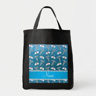 Name sky blue glitter nurse hats silver caduceus bags