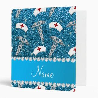 Name sky blue glitter nurse hats silver caduceus binder