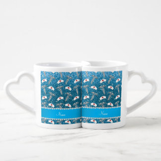 Name sky blue glitter nurse hats silver caduceus couples' coffee mug set