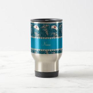 Name sky blue glitter nurse hats silver caduceus travel mug