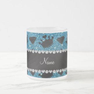 Name sky blue glitter princess crowns diamonds coffee mugs