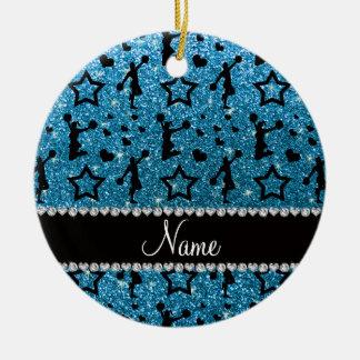 Name sky blue glitter stars hearts cheerleading ceramic ornament