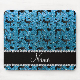Name sky blue glitter wrestling hearts bows mouse pad