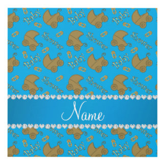 Name sky blue gold baby carriages pins baby shower panel wall art