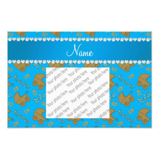 Name sky blue gold baby carriages pins baby shower photo print