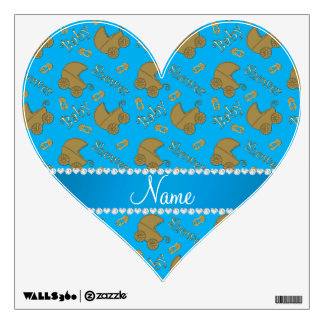Name sky blue gold baby carriages pins baby shower wall sticker