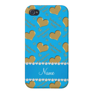 Name sky blue gold hearts bachelorette party iPhone 4 cover