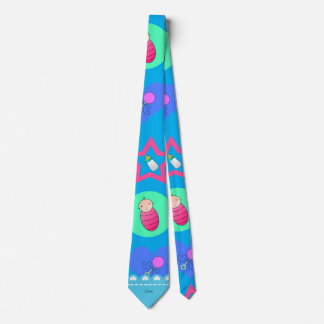 Name sky blue hearts dots stars baby rattle bottle neck tie