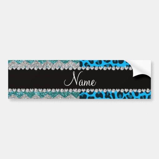 Name sky blue leopard turquoise glitter chevrons bumper sticker