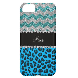 Name sky blue leopard turquoise glitter chevrons iPhone 5C covers