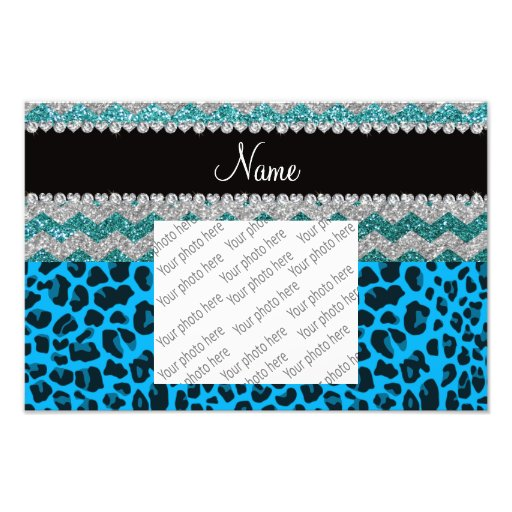 Name sky blue leopard turquoise glitter chevrons photo print