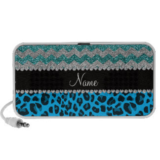 Name sky blue leopard turquoise glitter chevrons portable speakers