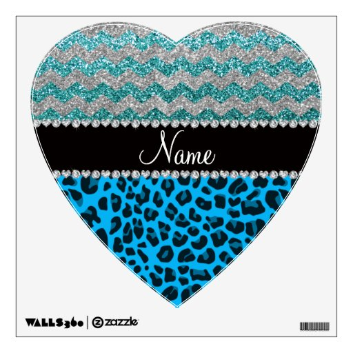 Name sky blue leopard turquoise glitter chevrons wall stickers
