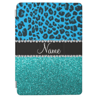 Name sky blue leopard turquoise glitter iPad air cover