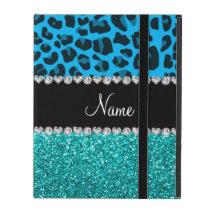 Name sky blue leopard turquoise glitter iPad cover